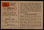 1954 Bowman #115  Al Carmichael  Back Thumbnail