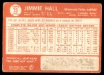 1964 Topps #73  Jimmie Hall  Back Thumbnail