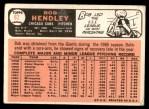 1966 Topps #82  Bob Hendley  Back Thumbnail