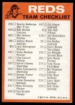 1973 Topps Blue Checklist   Reds Back Thumbnail