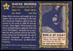 1953 Topps Who-Z-At Star #67  Wayne Morris  Back Thumbnail