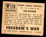 1950 Topps Freedoms War #178   10th Division  Back Thumbnail