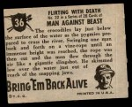 1950 Topps Bring Em Back Alive #36   Flirting With Death Back Thumbnail