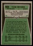 1975 Topps #191  Tom Myers  Back Thumbnail