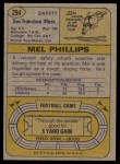 1974 Topps #294  Mel Phillips  Back Thumbnail
