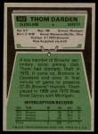 1975 Topps #342  Thom Darden  Back Thumbnail