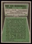 1975 Topps #274  Ken Mendenhall  Back Thumbnail