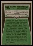 1975 Topps #378  Manny Fernandez  Back Thumbnail