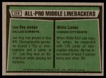 1975 Topps #218   -  Willie Lanier / Lee Roy Jordan All-Pro Middle Linebackers Back Thumbnail