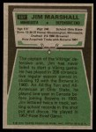1975 Topps #157  Jim Marshall  Back Thumbnail