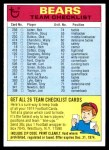 1974 Topps  Checklist   Bears Front Thumbnail