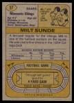 1974 Topps #57 ONE Milt Sunde  Back Thumbnail