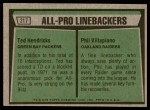 1975 Topps #217   -  Ted Hendricks / Phil Villapiano All-Pro Linebackers Back Thumbnail