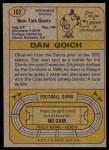 1974 Topps #102  Dan Goich  Back Thumbnail