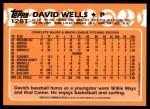 2001 Topps Traded #131 T  -  David Wells 88  Back Thumbnail