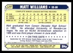 2001 Topps Traded #126 T  -  Matt Williams 87  Back Thumbnail