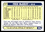 2001 Topps Traded #128 T  -  Fred McGriff 87  Back Thumbnail