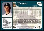 2001 Topps Traded #160 T Joe Crede  Back Thumbnail
