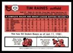 2001 Topps Traded #101 T  -  Tim Raines 81  Back Thumbnail