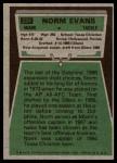 1975 Topps #234  Norm Evans  Back Thumbnail