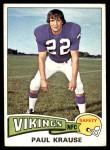 1975 Topps #496  Paul Krause  Front Thumbnail