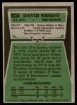 1975 Topps #447  David Knight  Back Thumbnail