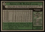 1979 Topps #590  J.R. Richard  Back Thumbnail