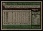 1979 Topps #524  Tom Burgmeier  Back Thumbnail