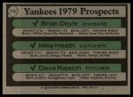 1979 Topps #710   -  Brian Doyle / Mike Heath / Dave Rajsich Yankees Prospects   Back Thumbnail