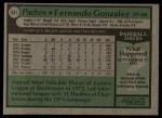 1979 Topps #531  Fernando Gonzalez  Back Thumbnail