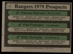 1979 Topps #713   -  Danny Darwin / Pat Putnam / Billy Sample Rangers Prospects   Back Thumbnail