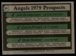 1979 Topps #703   -  Jim Anderson / Dave Frost / Bob Slater Angels Prospects  Back Thumbnail