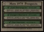 1979 Topps #721   -  Juan Berenguer / Dwight Bernard / Dan Norman Mets Prospects   Back Thumbnail
