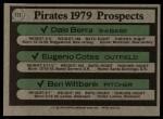 1979 Topps #723   -  Dale Berra / Eugenio Cotes / Ben Wiltbank Pirates Prospects   Back Thumbnail