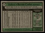 1979 Topps #38  Bernie Carbo  Back Thumbnail