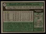 1979 Topps #439  Frank White  Back Thumbnail