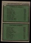 1979 Topps #6   -  J.R. Richard / Nolan Ryan Strikeout Leaders   Back Thumbnail