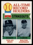 1979 Topps #417   -  Nolan Ryan / Walter Johnson All-Time Record Holders - Strikeouts Front Thumbnail