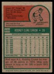 1975 Topps Mini #600  Rod Carew  Back Thumbnail