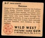 1949 Bowman Wild West #7 D  Ransom Back Thumbnail