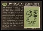 1969 Topps #213  Dave Costa  Back Thumbnail