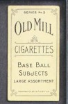 1910 T210-3 Old Mill Texas League  Shindel  Back Thumbnail