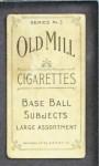 1910 T210-3 Old Mill Texas League  Alexander  Back Thumbnail