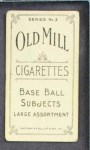 1910 T210-3 Old Mill Texas League  Nagel  Back Thumbnail