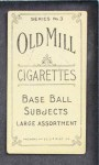 1910 T210-3 Old Mill Texas League  Curry  Back Thumbnail