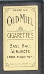 1910 T210-3 Old Mill Texas League  Riley  Back Thumbnail