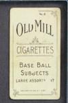 1910 T210-3 Old Mill Texas League  Shontz  Back Thumbnail