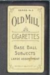 1910 T210-3 Old Mill Texas League  Evans  Back Thumbnail