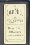 1910 T210-3 Old Mill Texas League  Yantz  Back Thumbnail