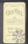 1910 T210-3 Old Mill Texas League  Coyle  Back Thumbnail